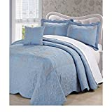 4pc 120 X 120 Sky Royal Blue Oversized Damask Bedspread King Floor, Hangs Over Edge Floral Bedding Drops Side Bed Frame Drapes Large Extra Wide Long French Country Pattern, Polyester