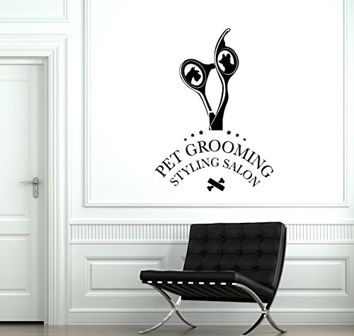 - ResorDecals Pet Grooming Vinyl Wall Decal Styling Salon Groomer Scissors Stickers Mural TT1058