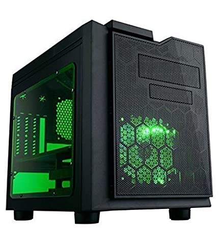 APEVIA X-QPACK3-GN Micro ATX Cube Gaming/HTPC Case, Supports Video Card up to 320mm/ATX PS, 2xGreen Windows, USB3.0/USB2.0/HD Audio Ports, 1 x 140mm Green LED fan, Flip Open Design, Dust (Thermaltake Core V21)