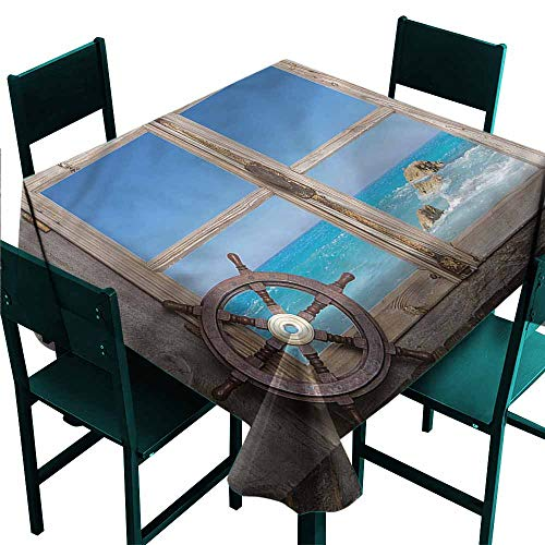 DONEECKL Dust-Proof Tablecloth Holiday Wooden Window with Seascape Excellent Durability W50 - Seascape Faux Window