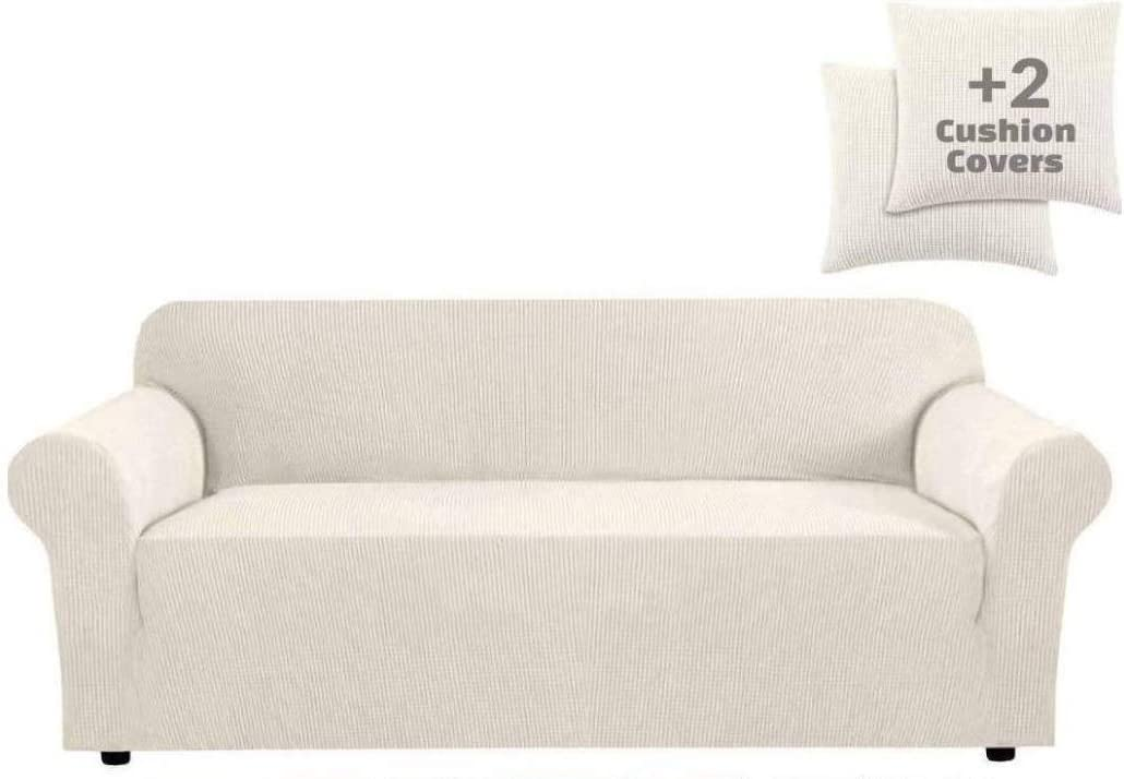 JINAMART High Stretch Couch Cover-One Piece Sofa Cover Furniture Protector + Two Cushion Covers and Pockets on The Sides (X-Large, White)
