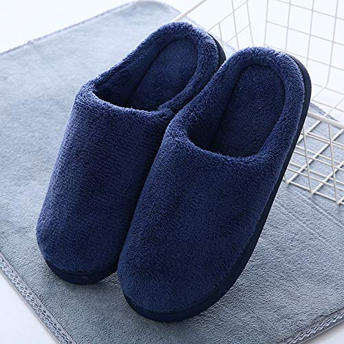 Casa De Cálido Eagsouni® Zapatos Pareja Algodón Slippers Otoño Invierno Azul Oscuro Suave Zapatillas Interior Felpa Mujer Piso wgPqYxPtB
