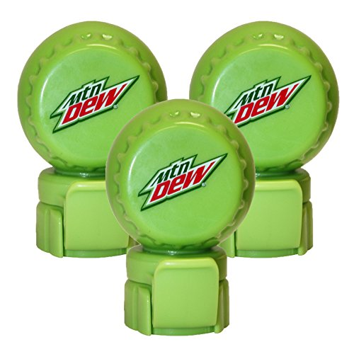 Jokari 3 Count Mtn Dew Modern Logo Fizz Keeper Soda Bottle Pump and Pour Caps, Green