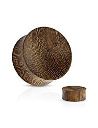 Organic Snake Wood Double Sided Flare Plugs (1 Pair)