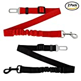Gopsyc Durable Dog Safety Seat Belt Leash – Adjustable Pet Dog Car Safety Belt with Elastic Nylon Bungee Buffer for Shock Attenuation - Cat Safety Leads Vehicle Car Seatbelt Harness - 2 of Pack