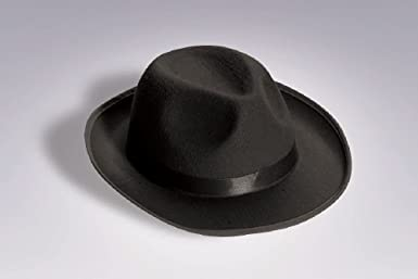 5de6c52cace77 Amazon.com  OvedcRay 1920S 20 S Mens Black Gangster Satin Fedora Trilby  Blues Brother Costume Hat  Clothing