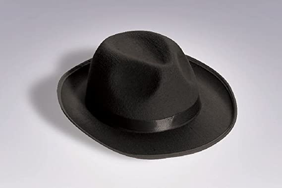 87298daeb5c15 Image Unavailable. Image not available for. Color  OvedcRay 1920S 20 S Mens  Black Gangster Satin Fedora Trilby Blues Brother ...