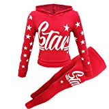 Girls Star Printed Long Sleeve Hooded Top & Bottom Set Kids Tracksuit (Red Star, 11-12 Years)