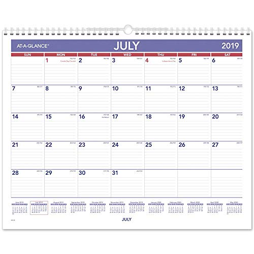 (AT-A-GLANCE 2019-2020 Academic Year Wall Calendar, Medium Wide, 15