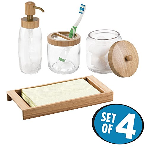mDesign Glass Soap Dispenser Pump, Canister Jar for Cotton Balls/Swabs, Cosmetic Organizer Tray, Toothbrush Holder - Set of 4, Clear/Natural Bamboo by mDesign