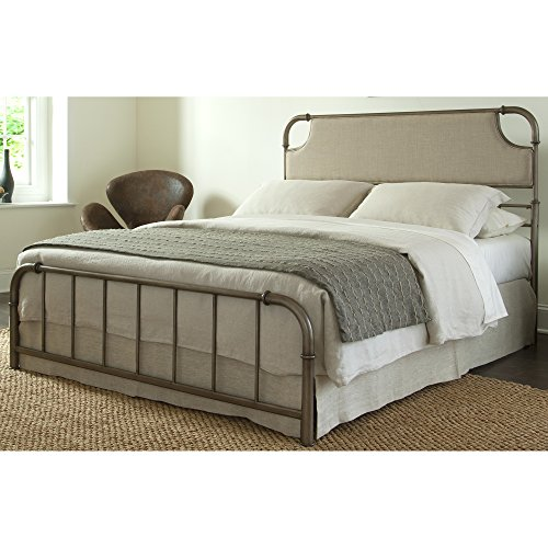 Contemporary Not Upholstered Metal (Dahlia Snap Bed with Upholstered Headboard and Folding Metal Side Rails, Aged Iron Finish,)