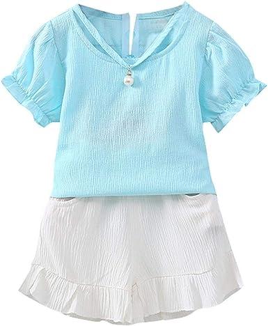 2PCS Kids Baby Girls Toddler Outfit Clothes Summer T-shirt Tops+Pants Shorts Set