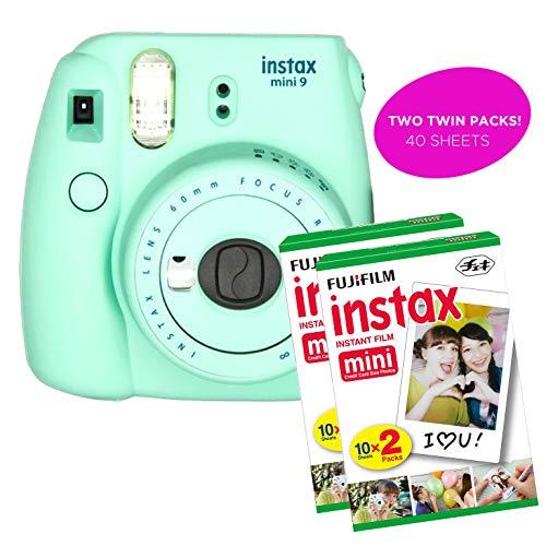 Fujifilm Instax Mini 9 Instant Print Camera (Certified Refurbished) Bundle with New Camera Case, 2 Twin Film Packs, Photo Album, Photo Stickers, 10 Mini Frames, Close Up Lens & More (Mint Green)