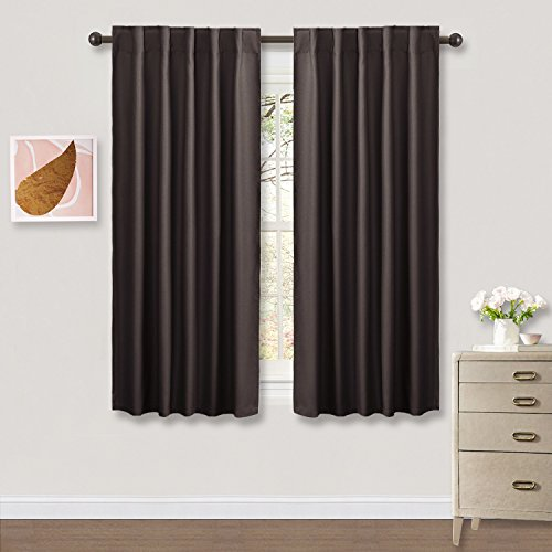 Bedroom Blackout Curtains Window Draperies - PONY DANCE Enery Efficient Thermal Insulated Back Tab/Rod Pocket Curtain Panels / Window Treatments for Thanksgiving Day,42