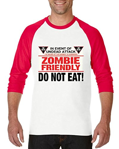 Blue Tees Zombie Friendly Do Not Eat Fashion Party People Best Friends Halloween Gifts Unisex Raglan Baseball T-Shirt Large White -