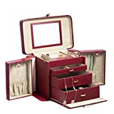 Time Factory AJ-BB675RED ''Lizard'' Leather 4 Level Jewelry Box with Travel Pouch, Red