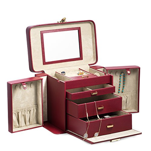 Time Factory AJ-BB675RED ''Lizard'' Leather 4 Level Jewelry Box with Travel Pouch, Red by The Time Factory (Image #2)