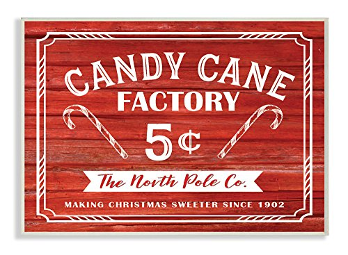 Stupell Industries Candy Cane Factory Vintage Sign Wall Plaque Art, Proudly Made in USA
