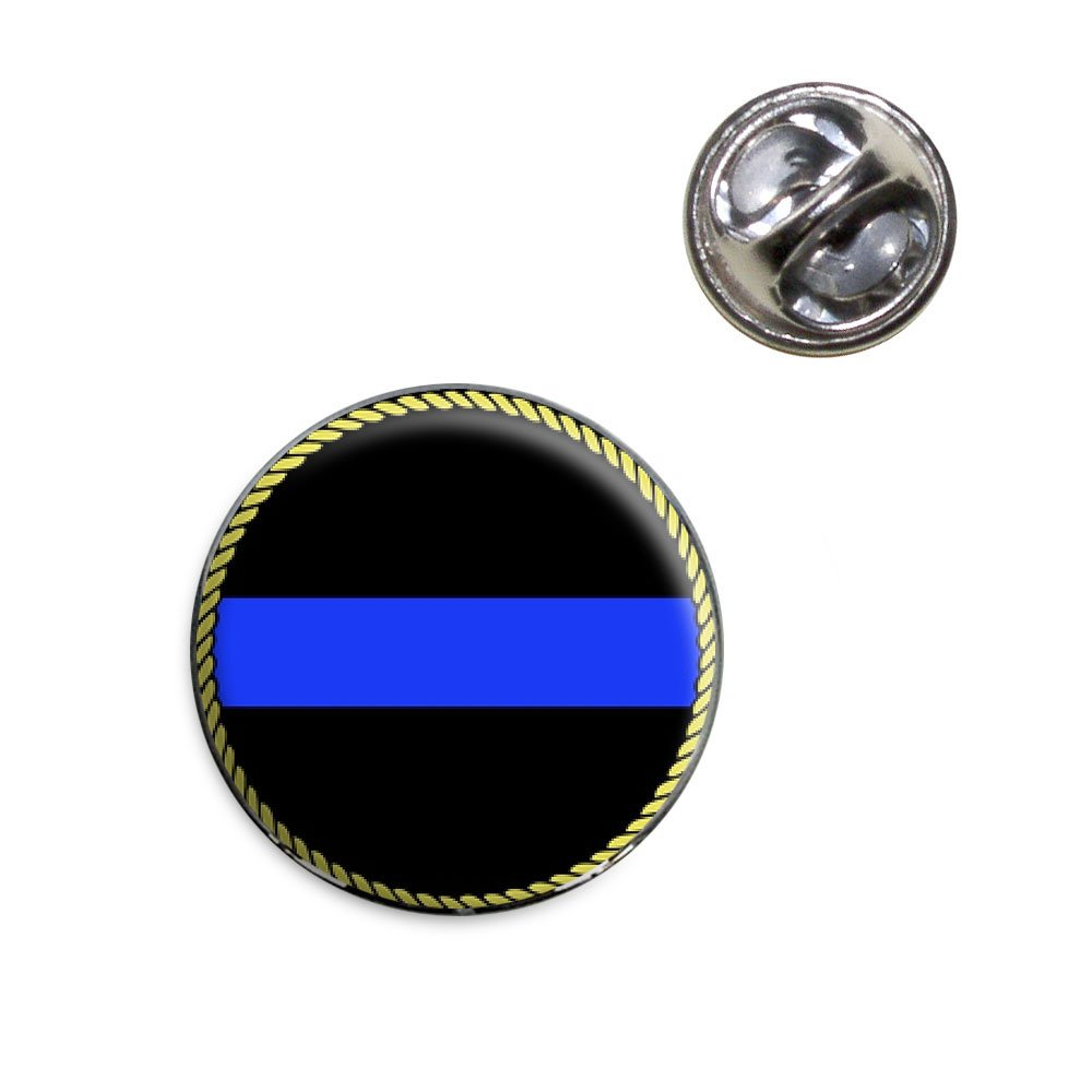 Thin Blue Line Lapel Hat Tie Pin Tack Made On Terra