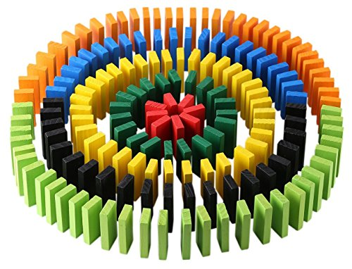 Click N' Play 300-piece 100% Real Wooden Domino Blocks Set, Racing Toy Game, Building and Stacking Toy - Set Wooden Game Dominoes