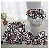 WSHINE 3 Piece Bath Rug Set Stone Print Bathroom Rug (17.7''29.5'')/large Contour Mat (15.7''17.7'') with Lid Cover(16''15'') (22)