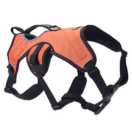 SCENEREAL Escape Proof Large Dog Harness - Outdoor Reflective Adjustable Vest with Durable Handle and Leash Ring for Medium Large Dogs Training Walking Hiking, Orange M