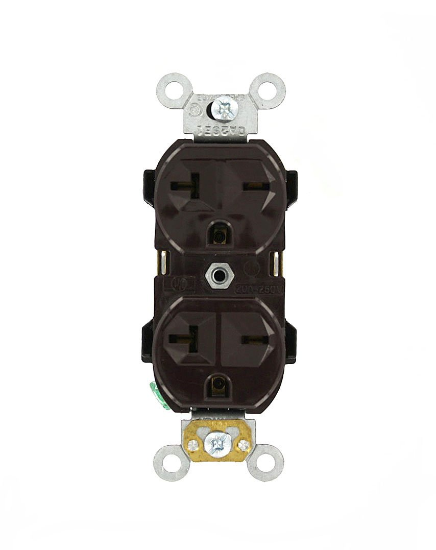 Leviton 5824 20 Amp, 250 Volt, Narrow Body Duplex Receptacle, Straight Blade, Commercial Grade, Self Grounding, Brown