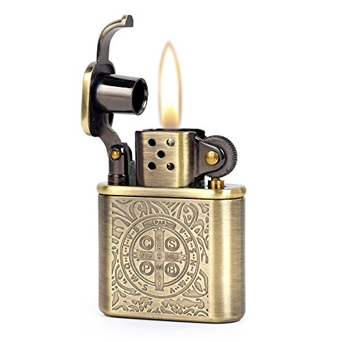 Bronzy Carved Constantine Antique Style Lift Arm Oil Petrol Lighter Antique Pipe