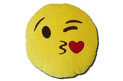 Katara 1788 Cojín Redondo Emoji Almohadilla Emoticono Whatsapp, Almohada Smiley De Peluche, Para Sofá - Beso