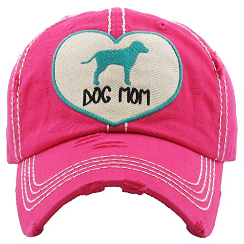 Mom Womens Pink T-shirt - H-212-DMH24 Distressed Baseball Cap Vintage Dad Hat - Dog Mom Heart (Hot Pink)