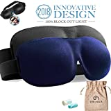 Eye Mask for Sleeping, 2 Pack Men Woman Sleep Mask, Block Out Light Eye Mask, 3D Contoured Comfortable Eye Cover & Blindfold for Travel/Nap/Night's Sleeping (Black + Navy)