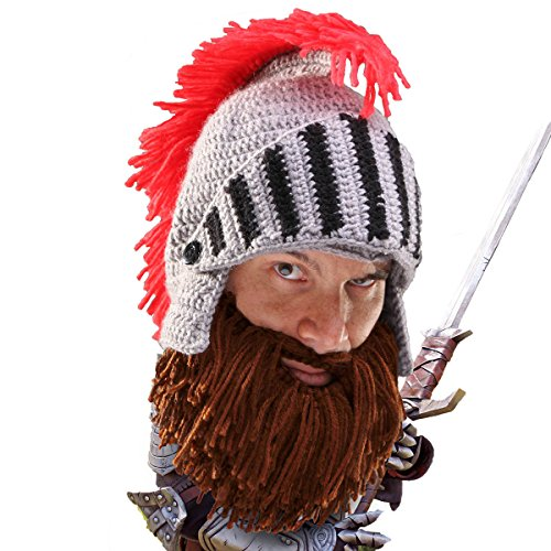 Beard Head Knight Beard Beanie - Funny Knitted Helmet and Fake Beard and Visor Brown]()