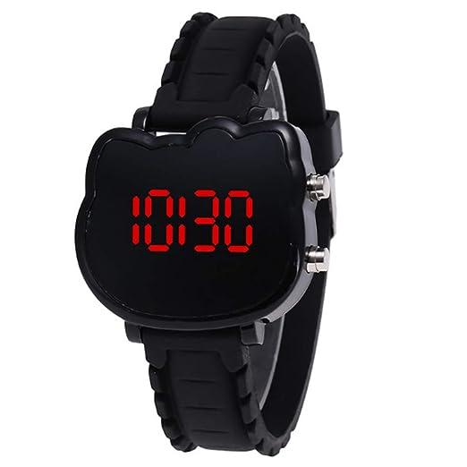 Relojes Digitales Relojes electrónicos LED de Reloj Deportivo Relojes Exteriores de Sports para niñas Chicos Adolescentes Digital LED Relojes Forma Gato ...