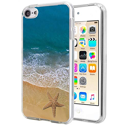 Carbon Fiber Ipod Touch Case - Matcase for I pod Touch 6 Case I pod Touch 5 - Starfish Sailor Ocean Crystal Clear Transparent Anti Scratch Resistant Shock Absorption Ultra Slim Fit Protective with TPU Bumper Hybrid Designer Case