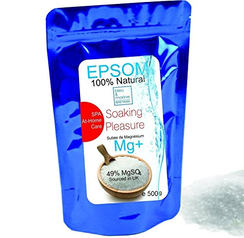 Pure Epsom Salt 500 g ● Resealable stand-up pouch Easy-to-Use ● Food Grade, SPA and At-Home Care Soaking Pleasure ● A pure, time-tested mineral ● Health, Beauty , Fitness & Wellness, Crafts, Gardening, by bleumarine Bretania , France