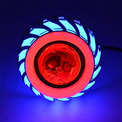 Andux Land Angel Devil Eyes Motorcycle/Car Hi/Low Beam LED Projector Headlight EMY-03 (Blue/Red Halo, 2 pieces): Automotive