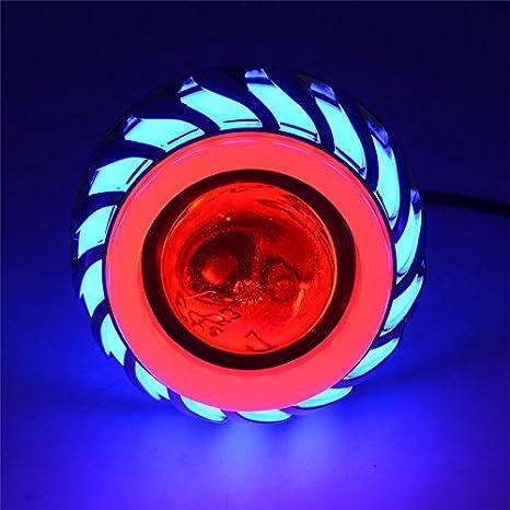 Rose//Bleu Halo, 2 pi/èces Andux Zone Angel Devil Eyes Moto//Voiture LED Projecteur Hi//Low Phare EMY-03