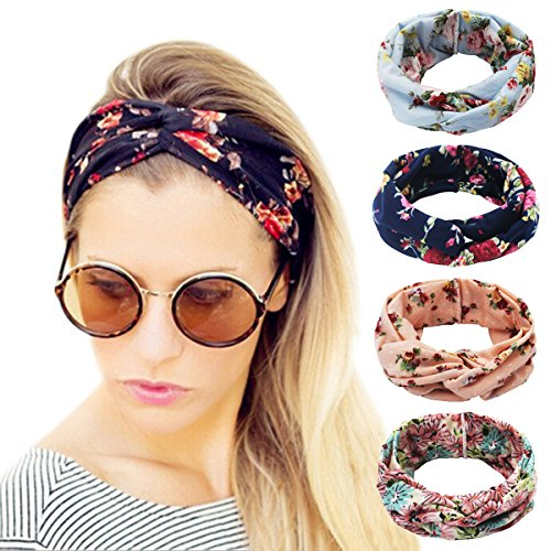 Accessory Wrap Hair (Ordenado 4 Pack Women's Headbands Elastic Turban Head Wrap Floal Style Hair Band)