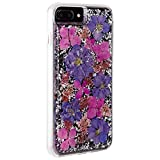 iPhone 8 Plus Case, MAGGICWEI-DL - Karat Petals - Made with Real Flowers - Slim Protective Design - Apple iPhone 8 Plus (Purple Petals, iPhone 8 Plus)