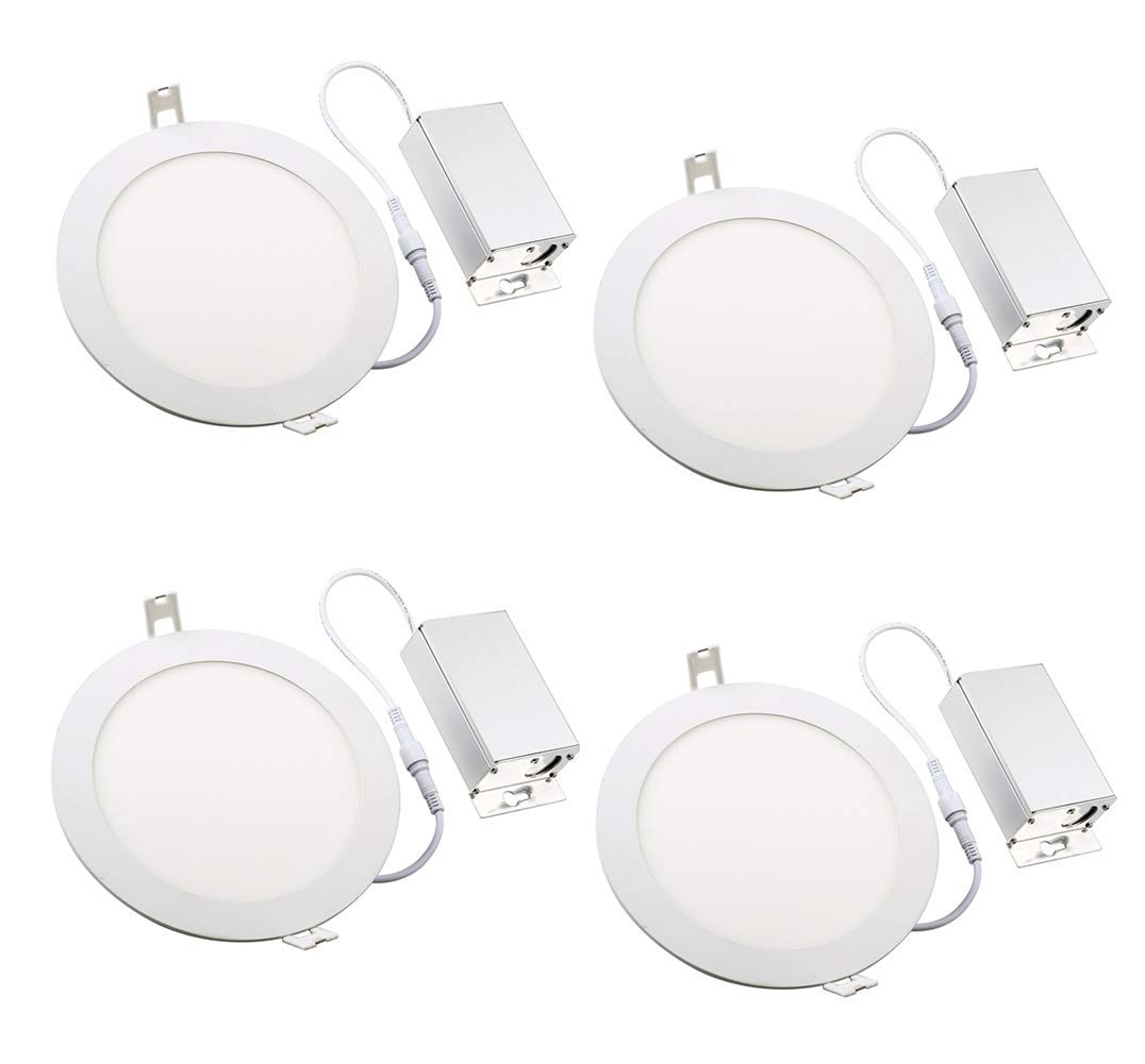 (4 Pack) NICKLED Dimmable 12W 6-inch Ultra-Thin Round LED Panel Light, 1000lm, 55W Incandescent Equivalent, 5000K Natural White, LED Recessed Ceiling Lights for Home, Office, Commercial Lighting