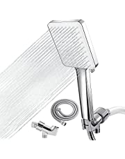 """Shower Head, 6-Settings Handheld Shower Head High Pressure Rain Shower Heads with 59"""" Stainless Steel Shower Hose and Adjustable Shower Head Holder"""