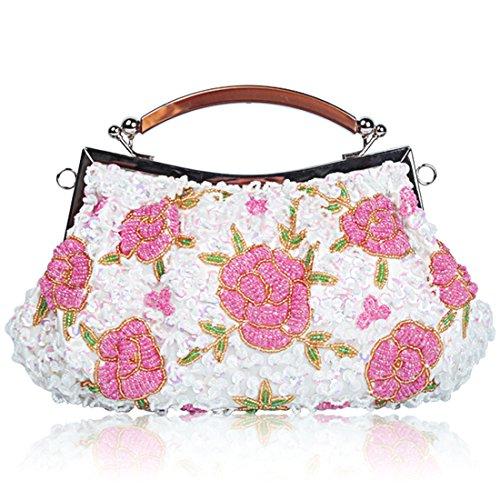 YYW Vintage Clutch Bag - Cartera de mano para mujer blanco