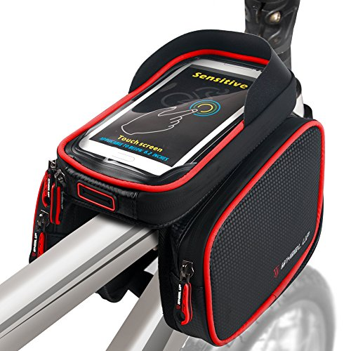 Bike Frame Bag Bicycle Top Tube Bag Cell Phone Bag Waterproof Sensitive Touch Screen (Black-Red)