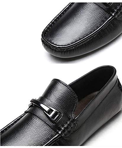 US tamaño On Redonda 8 7 HhGold Cuero Cabeza Talla Azul Color de Hombres Hombres de para Mocasines UK Slip UK Zapatos 5 US Azul Color Casuales 5 cómodos 7 Negro para 8 xxHIqSP