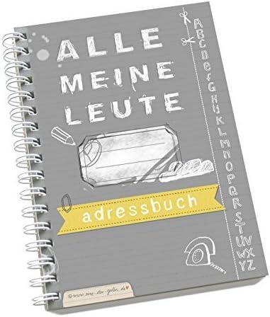 """Adressbuch""""Alle meine Leute"""" im neuen Design, flexible Einteilung mit Register zum Ausschneiden, A6, Grau Gelb"""