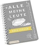 """Adressbuch """"Alle meine Leute"""" im neuen Design, flexible Einteilung mit Register zum Ausschneiden, A6, Grau Gelb"""