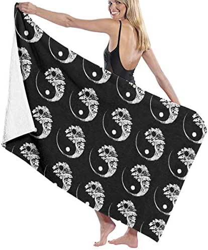 100% Polyester Yin Yang Bonsai Tree Black Beach Towel Soft and Absorbent Beach Bath Pool Towel Large Beach Towels One Size About 31.5 X 51.2 Inches