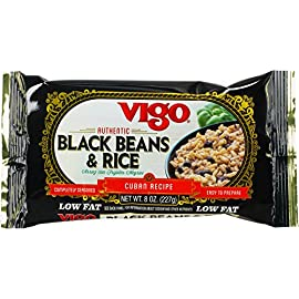 Vigo Rice Mix, 8-Ounce Pouches (Pack of 12) 78 Classic Cuban recipe complete with black beans and spices for a truly authentic flavor. Great as a side dish or served as a complete meal with the addition of your favorite meat or vegetables. Completely seasoned and easy to prepare. Ready in less than 25 minutes!