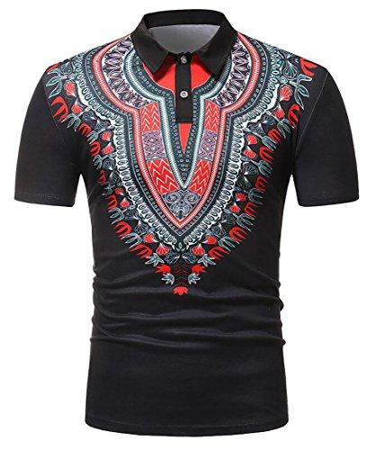 Bravepe Men's African Print Lapel Short-Sleeve Vintage Dashiki Polo Shirt Black L
