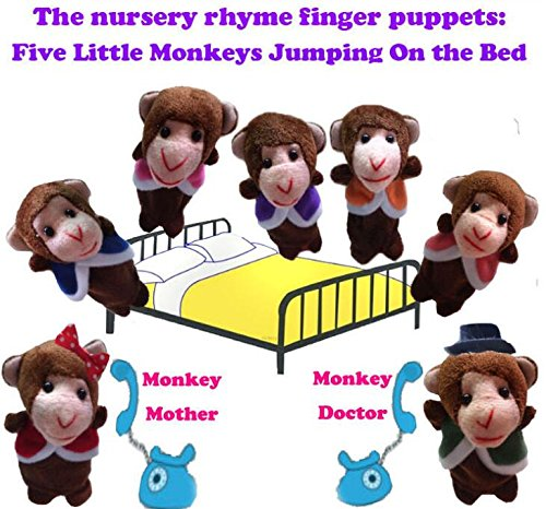 Zhahender Hand decoration toy 7 Pcs Finger Puppets Story Telling Five Little Monkeys Jumping on the Bed Perfect Kids Gift